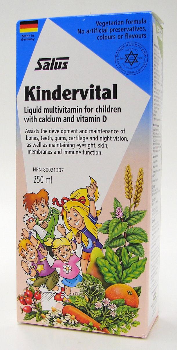 Salus Kindervital liquid Multivitamin for children with Calcium and Vitamin D, 250 ml (Flora)