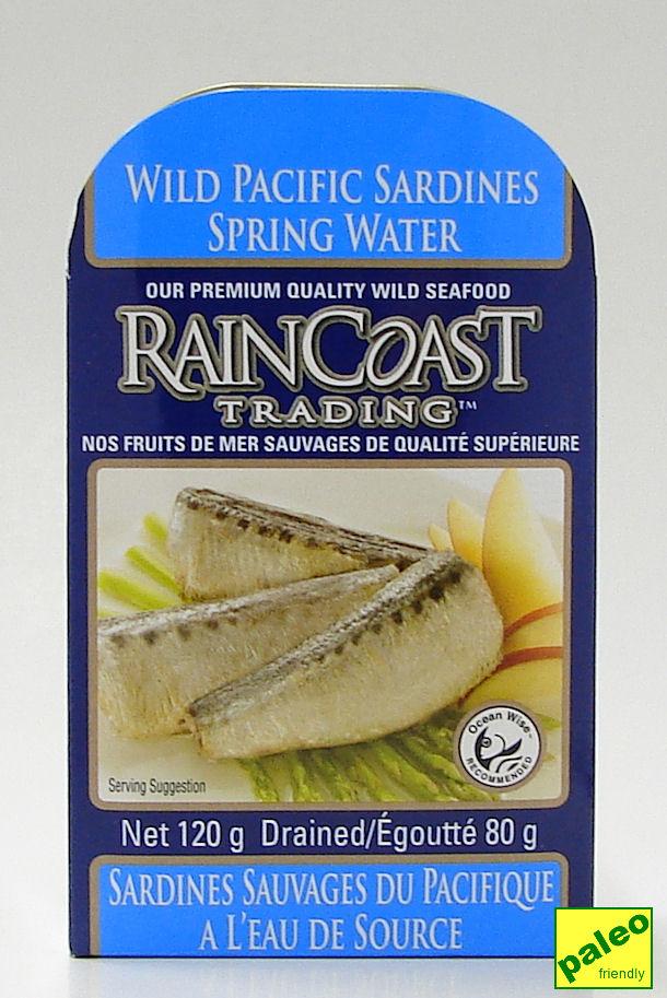 wild pacific sardines - spring water, net 120 g (rainCoast trading)