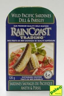 wild pacific sardines - dill & parsley, 120 g (rainCoast trading)