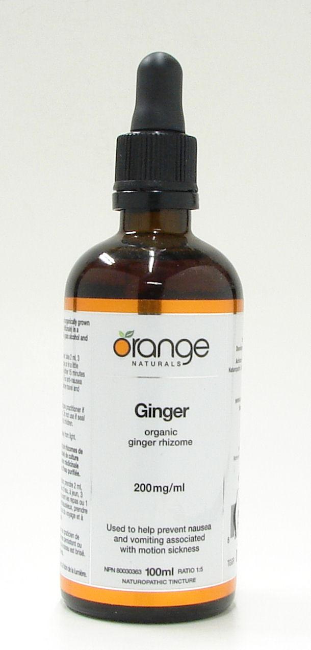 Organic Ginger Rhizome, 200 mg/ml, 100 ml (Orange Naturals)