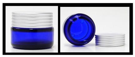 30 ml cobalt blue ointment jar with silver cap (alypsis)
