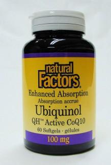 ubiquinol (QH Active Co Q10) 100 mg 60 softgels (natural factors)