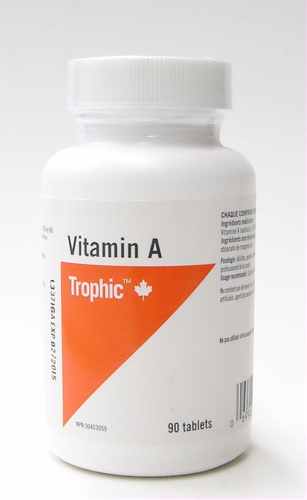 vitamin A, 10,000 IU, 3000mg RAE, 90 tabs (trophic)