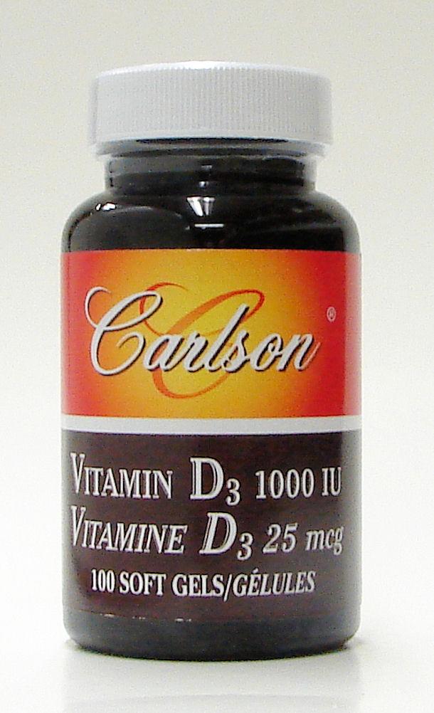 vitamin D3, 1000 IU, 100 soft gels (Carlson)