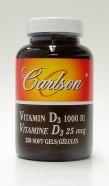 vitamin D3, 1000 IU, 250 soft gels (Carlson)