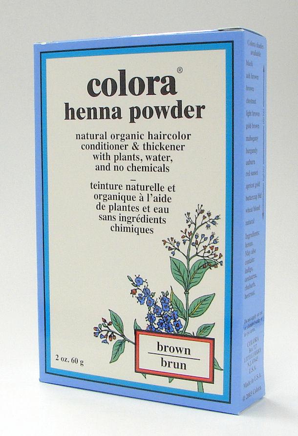 brown henna powder, natural organic hair color, 60 g (colora)