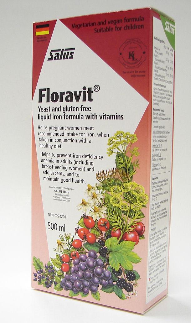 salus floravit yeast and gluten free liquid iron formula with vitamins, 500 ml (flora)