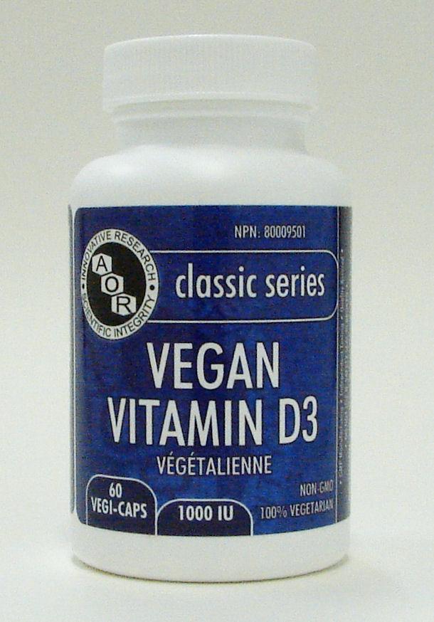 vegan vitamin D3,1000 IU, 60 v caps (aor)