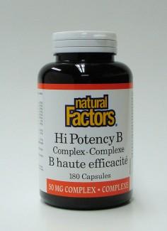 Hi Potency B Complex, 180 capsules  (Natural Factors)