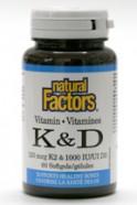 vitamins K & D, 60 softgels  (Natural Factors)