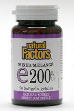 Vitamin E, 200 IU, mixed tocopherols, 90 softgels  (Natural Factors)