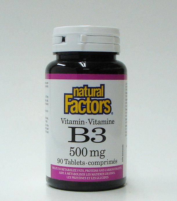 B3, 500 mg, 90 tablets  (Natural Factors)