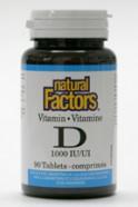 Vitamin D3, 1000 IU, 90 tablets  (Natural Factors)