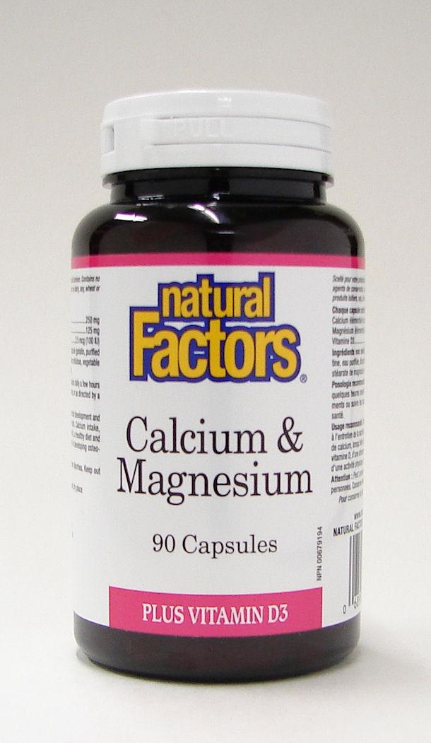 Calcium & Magnesium 2:1 plus vitamin D3, 90 capsules  (Natural Factors)