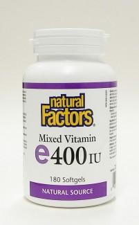 mixed vitamin e 400 iu, 180 softgels, natural source (natural factors)