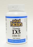 Vitamin D3, 1000 IU, 180 tablets  (Natural Factors)