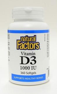 Vitamin D3, 1000 IU, 360 softgels  (Natural Factors)