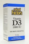 Vitamin D3 liquid 1000 IU, 15 ml (500 drops)  (Natural Factors)