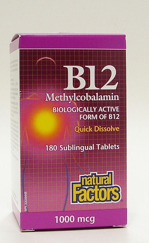 vitamin B12 methylcobalamin, 1000 mcg, 180 sublingual tablets (natural factors)