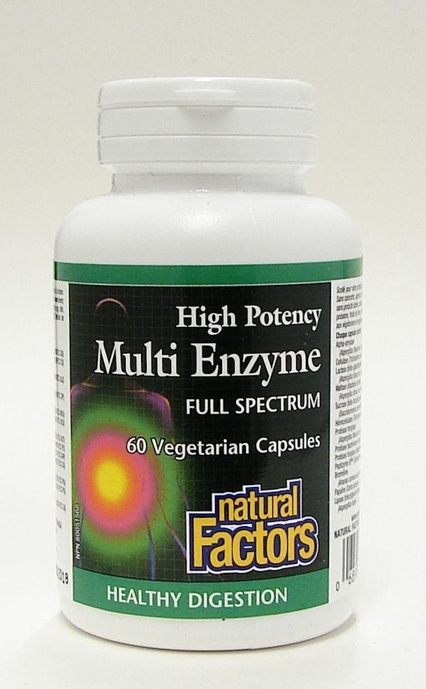 high potency multi enzyme full spectrum, 60 vegetarian caps (natural factors)