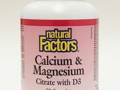 calcium & magnesium citrate with d3, 1:1, 90 caps (natural factors)