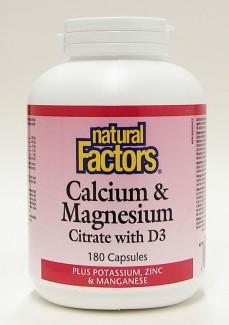 calcium & magnesium citrate with d3, 1:1, 180 caps (natural factors)