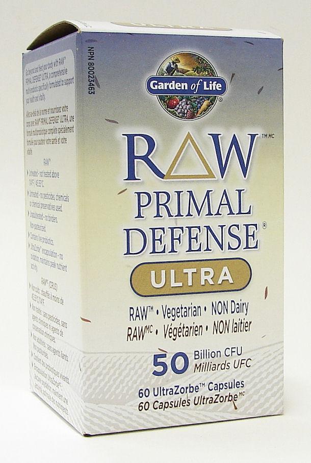 raw primal defense ultra, 50 billion CFU, raw, vegetarian, non-dairy, 60 caps (garden of life)