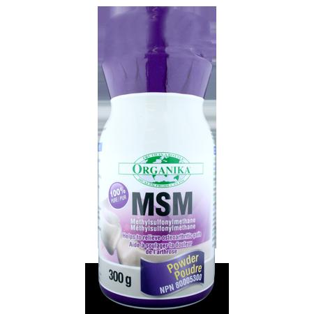 MSM (Methylsulfonymethane) 1000mg, 300G Powder (Organika)