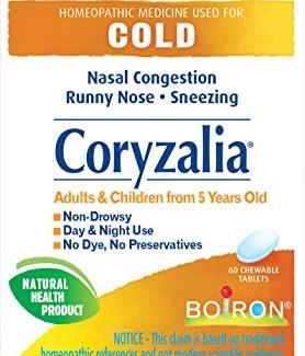 Boiron Coryzalia, 60 chew tabs, Nasal Congestion, Runny Nose, Sneezing