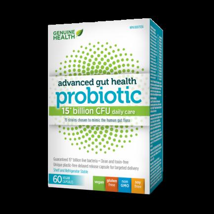 Advanced gut health Probiotic, 15 Billion, 60 vegan capsules (Genuine Health)